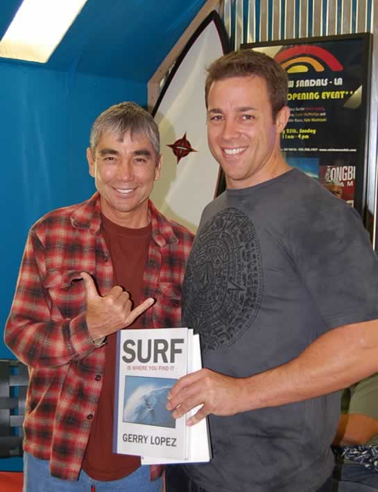 surf legend gerry lopez with his book surf is where you find it and david kruszenski